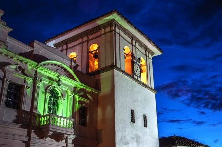 The clock tower in Popayan, Colombia during the blue hour  Stock Photo