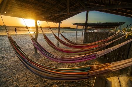 夕暮れ時のビーチでハンモック