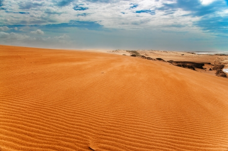 A view from the top of the Taroa Sand Dune in Guajira, Colombia  photo