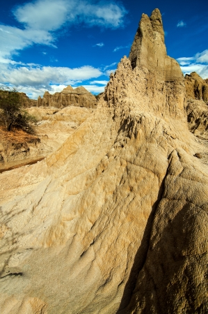 huila: A white stone pillar rising in Tatacoa Desert in Colombia