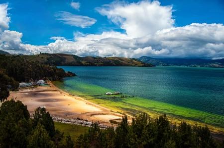 踏太湖の美しい深い緑と青の色 写真素材