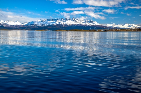 tierra: The mountains of Tierra del Fuego as seen from the Beagle Channel Stock Photo