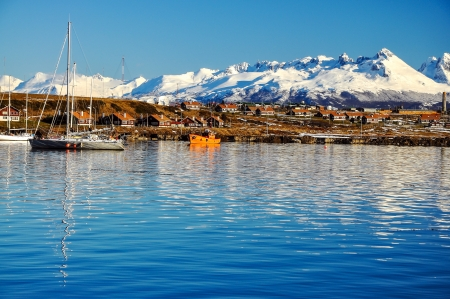A view of Ushuaia and mountains seen from the Beagle Channel