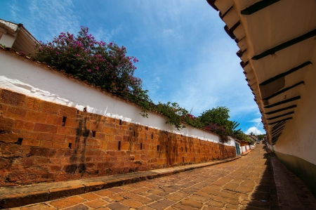 santander: A view of a street in Barichara, Colombia