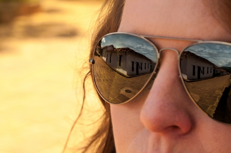 santander: The colonial town of Barichara reflected in a pair of sunglasses