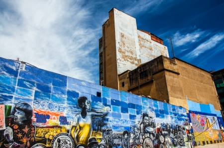 A mural on a wall in the center of Bogota, Colombia  Editorial