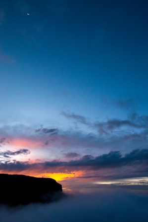 del: Sunset in the Nevado del Ruiz national park in Colombia