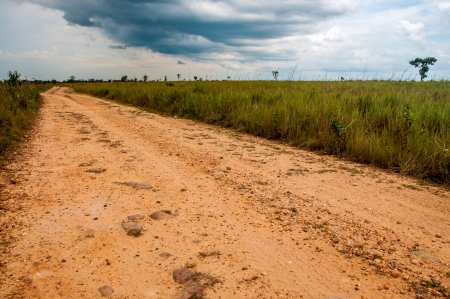 meta: A dirt road built by FARC rebels in the Colombian plains Stock Photo