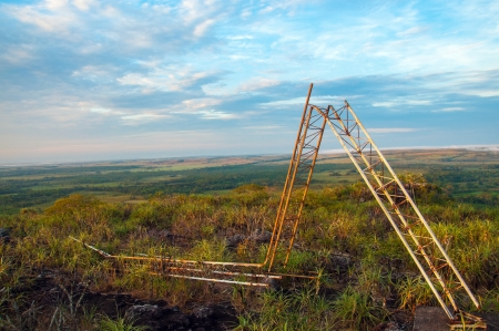A fallen radio tower of the FARC guerrillas in Meta, Colombia Stock Photo - 15581655