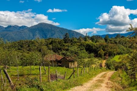 A view of the countryside and mountains in Boyaca, Colombia photo