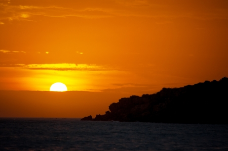 A yellow and orange sunset in La Guajira, Colombia  Stock Photo - 15759388