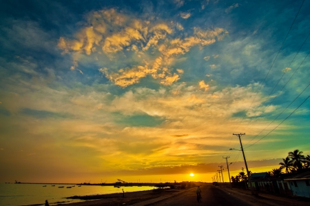 Sunrise in a coastal Colombian town  Stock Photo - 15759387