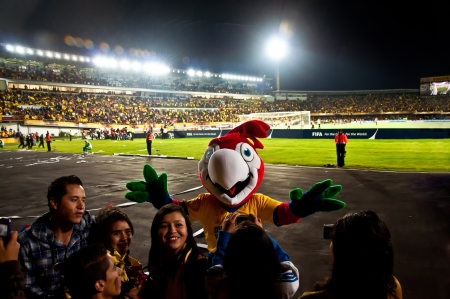 Bogota, Colombia - AUGUST 2: Fans celebrate at half time of a soccer game. Editorial
