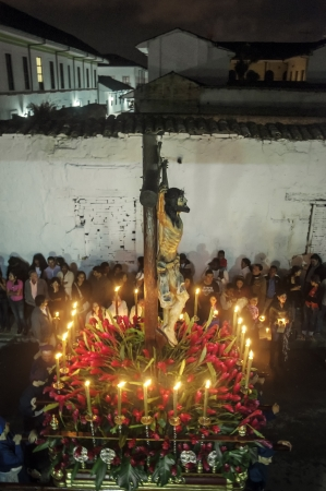procession: Popayan, Colombia - APRIL 5: Traditional Easter Celebration in the streets of the city