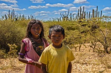 La Guajira, Colombia -AUGUST 5: Wayuu children looking on in the desert