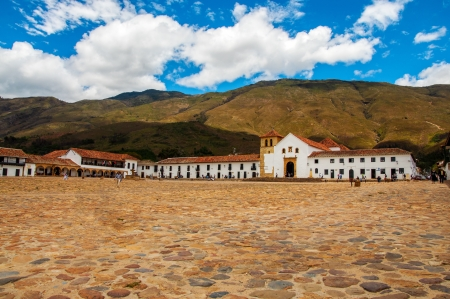 A view of the town square in Villa de Leyva, Colombia photo