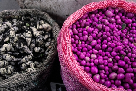 comida colombiana: Cubios y chuguas, ingredientes de comida t�pica colombiana