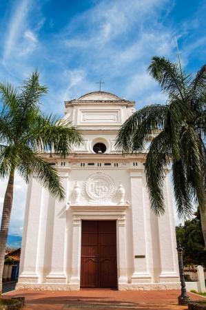 antioquia: A white church in Santa Fe de Antioquia, Colombia Stock Photo