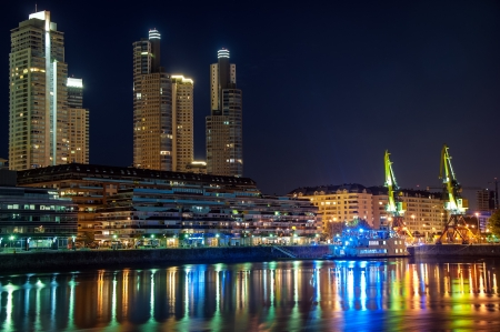 buenos: Beautiful upscale Puerto Madero and skyscrapers at night in Buenos Aires Stock Photo