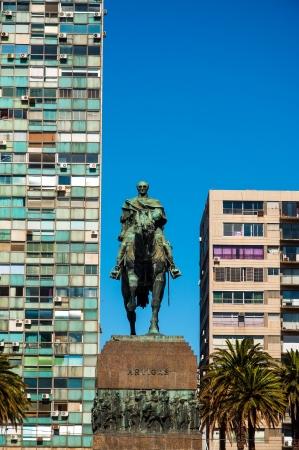 artigas: Public statue of General Artigas in Montevideo, Uruguay with a deep blue sky Editorial