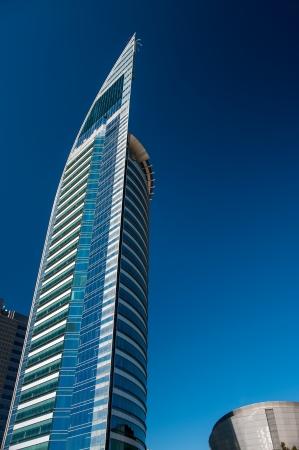 Towering beautiful blue skyscraper in Montevideo, Uruguay