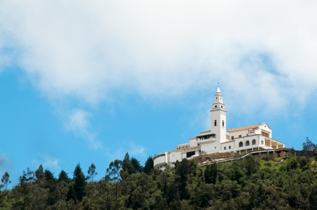 blue church: Monserrate church high in the Andes mountains