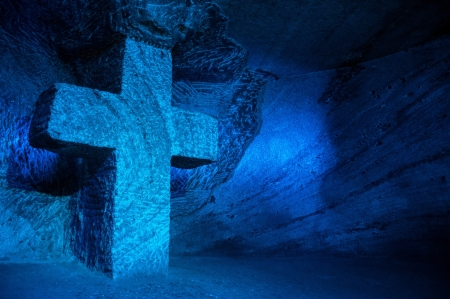 Large blue salt cross in salt cathedral in Colombia