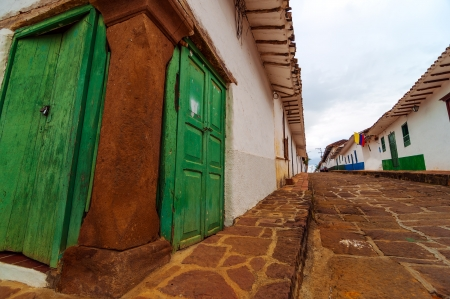 View of old colonial street corner in Barichara, Colombia