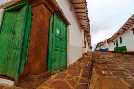 santander: View of old colonial street corner in Barichara, Colombia
