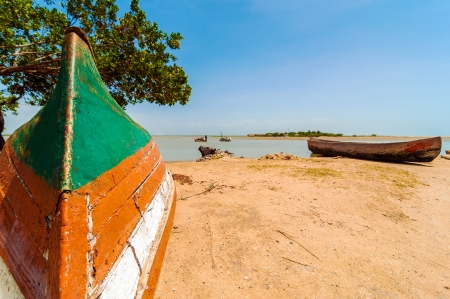 Canoes on a lakeshore in La Guajira, Colombia Stock Photo