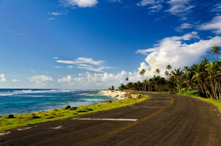 Road on Caribbean coast in San Andres, Colombia Stock Photo