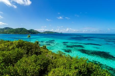 サン Andres y プロビデンシア島、コロンビアのジャングルと青緑色の水のビュー