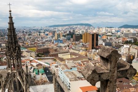quito: Cityscape of modern Quito, Ecuador with parts of historic basilica visible