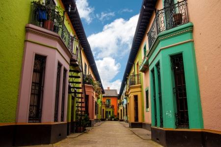 Bright colorful historic buildins in Los Martires neighborhood in Bogota, Colombia