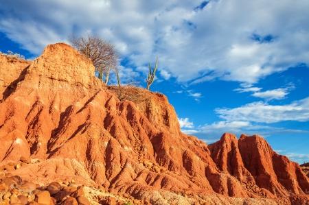 huila: Dramatic red rock formation in Tatacoa Desert in Huila, Colombia Stock Photo
