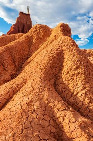 huila: Formaci�n de roca en llamas en el desierto de la Tatacoa en el Huila, Colombia Foto de archivo