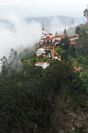 Aeriel view of Monserrate church perched high above Bogota, Colombia
