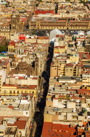 palacio: Aerial view of the cathedral of Mexico City and the main plaza, or Zocalo Stock Photo