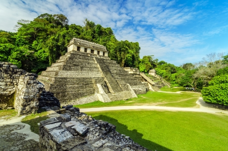 mesoamerica: Ancient Mayan temples in the ruined city of Palenque