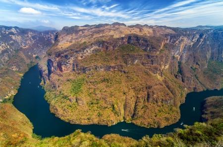 チアパス州, メキシコでスミデロ渓谷渓谷の上からの眺め
