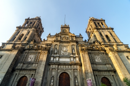 metropolitan: View of the cathedral of Mexico City in the Zocalo