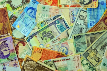 bank of america: Currency from Latin American countries such as Argentina, Uruguay, Paraguay, Mexico, Colombia, and Peru Stock Photo