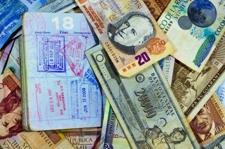 us paper currency: Passport stamps with various Latin American currencies