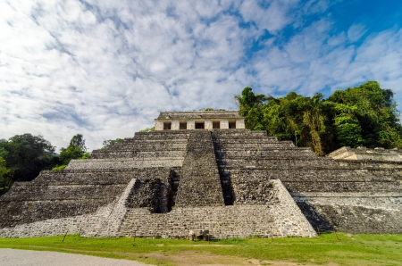mesoamerica: A straight on view of the Temple of Inscriptions at Palenque in Chiapas, Mexico