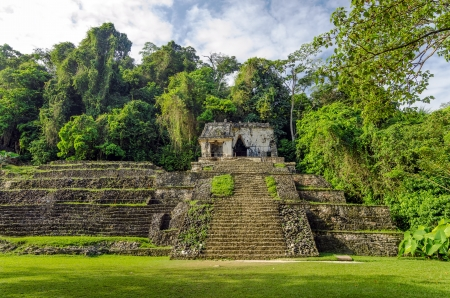 mesoamerica: Ancient Mayan temple in the ruins of Palenque in Chiapas, Mexico