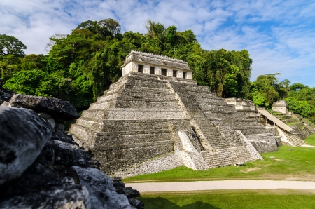Temple of Inscriptions, the most important temple in the Mayan ruins of Palenque photo