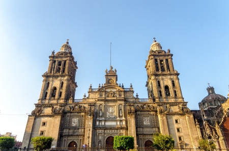 View of the facade of the cathedral in Mexico City as seen from the Zocalo