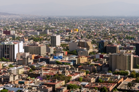 Wide angle cityscape of Mexico City