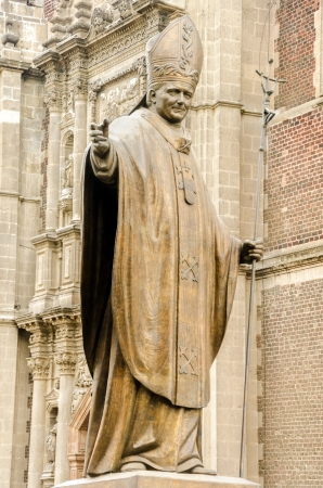 pontiff: Statue of Pope John Paul II in Mexico City near the Basilica of Our Lady of Guadalupe Stock Photo