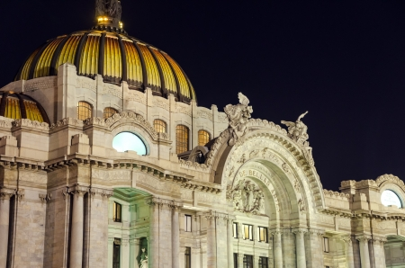The Fine Arts Palace of Mexico City seen at night